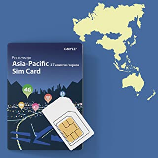 GMYLE Japan, China, Thailand, etc, Prepaid SIM Card, 5 GB 14 Days Asia Pacific 17 Countries 4G LTE 3G Travel Data, Top up Anytime and Anywhere