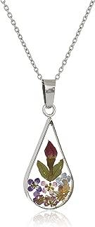 Sterling Silver Pressed Flower Teardrop Pendant Necklace
