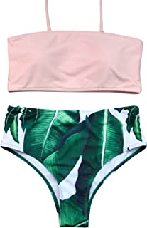 38a28df8926ed RUUHEE Women High Cut Bandeau Tropical Leaf Printed Strapless Swimsuits Bikini  Set