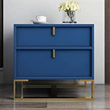 Bedroom Bedside Table Storage Cabinet Modern End Table Metal Frame for Living Room Side Table Blue Wooden with 2 Drawer fo...
