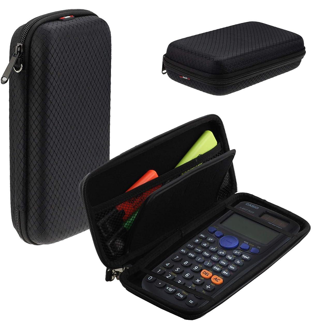 開業医信条左Navitech ブラック グラフィックス 電卓 ハードケース/カバー 収納ポーチ付き カシオFX-9750G11に対応
