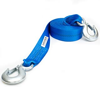 """Driver Recovery 2"""" x 20'Heavy Duty Tow Strap with Safety Hooks - 10,000 Pound Pulling Power for Emergency Recovery Winch Towing"""