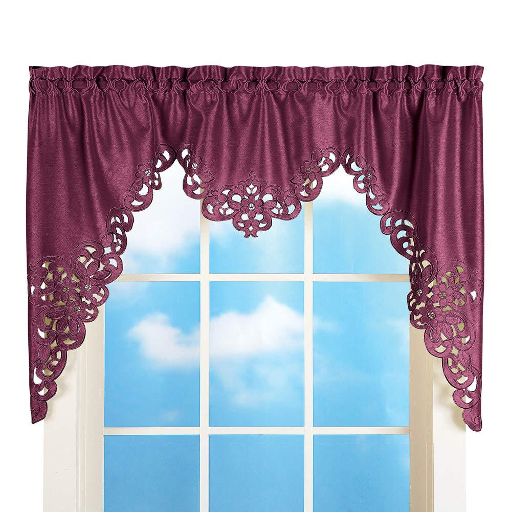 Collections Etc Elegant Scroll Window Valance Burgundy 58 X 36 Burgundy 58 X 36 Home Kitchen