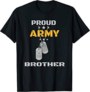 Proud Army Brother US Military Bro Family Dog Tags Gift T-Shirt