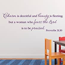 Proverbs 31:30 Vinyl Wall Decal 8 by Wild Eyes Signs Charm is deceitful and beauty is fleeting, Woman Decor, Teen Girl Wall Decal, Women Wall Sticker, Modern Christian Wall Letters, PRO31V30-0008