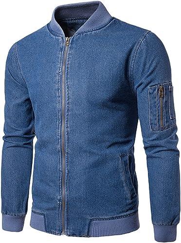 Fjubjv Les Hommes de Mode Mode Couleur, Grand Manteau, Veste de Corps Poche, Les Jeans,Bleu,L