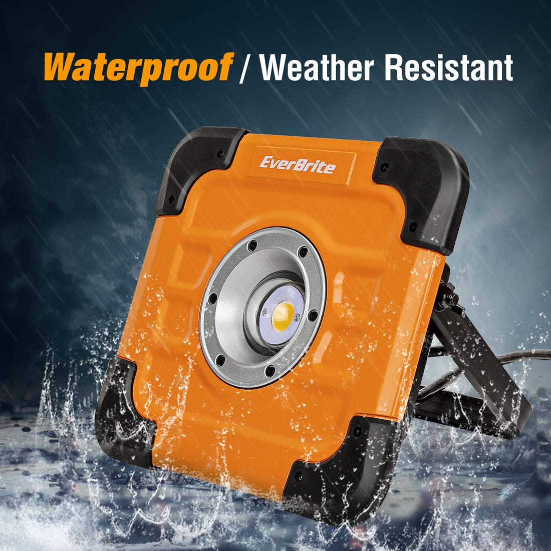 Adjustable Lighting Angles Garden and Lawn EverBrite 60W 5000LM CREE COB Work Light Garage Portable Aluminium Flood Light with Stand 5FT Cord Included for Car Repairing