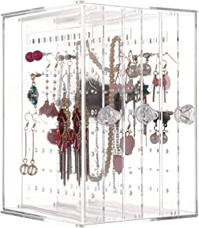 Sooyee Dustproof Jewelry Screen Hanger Organizer 216 Holes Earrings Holder 3 Drawers Necklace Chains Acrylic Display Stand...