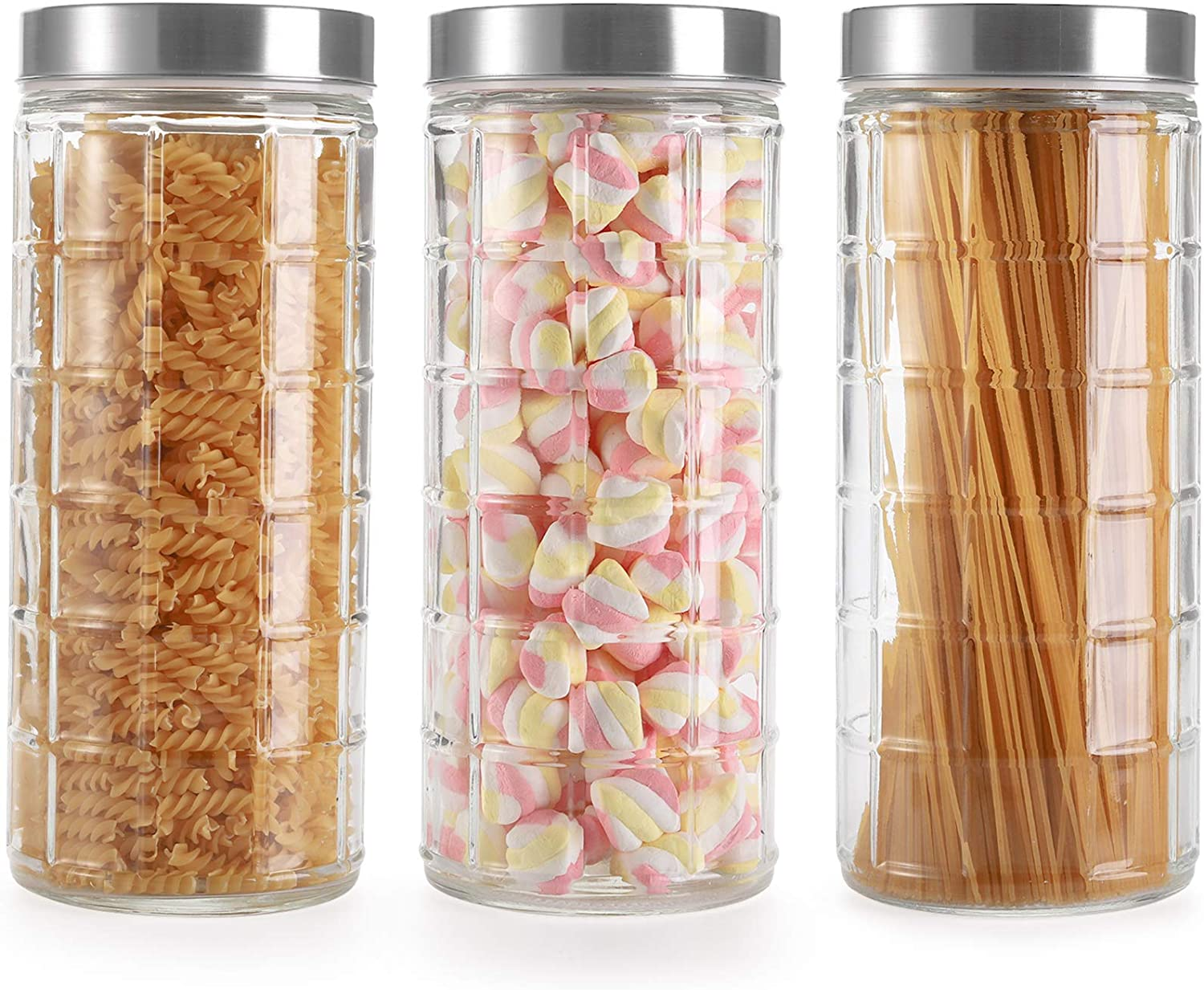 Hedume 3 Pack Large Glass Container With Airtight Lid, 72 Oz Glass Jar with Metal Lids, Dry Food Storage Pasta Container Kitchen Canister, Glass Canister Sets, Large Spaghetti Jars