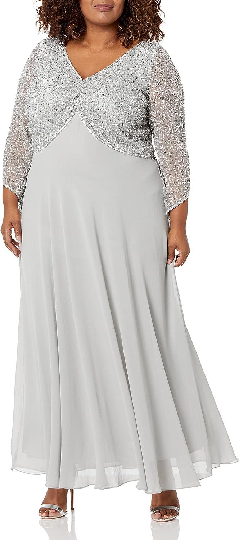 J Kara Women's 3/4 Sleeve V-Neck Beaded Top Long Gown