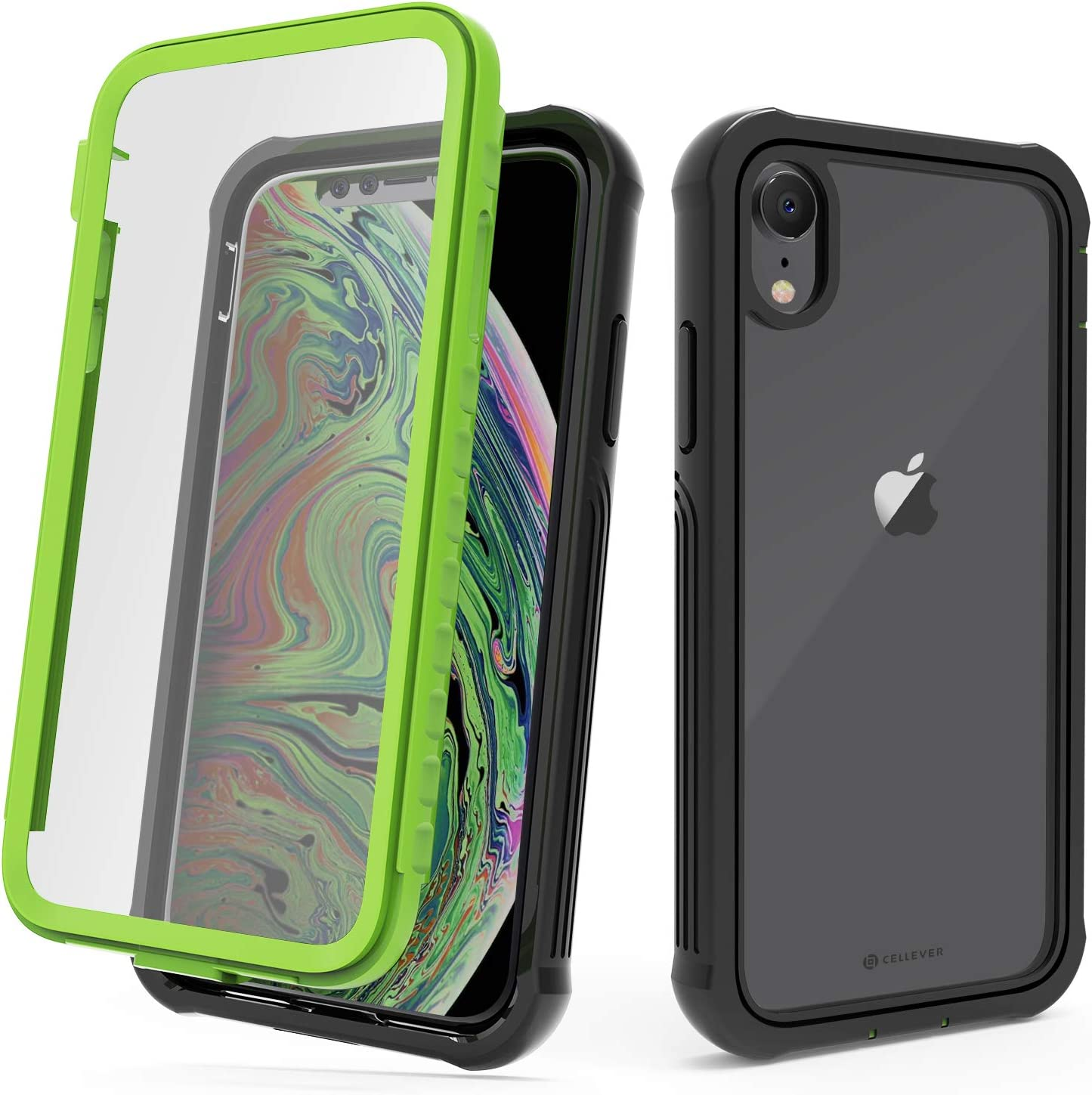 CellEver Compatible with iPhone XR Case, Heavy Duty Clear Full-Body Protective Transparent Cover with Soft Shock Absorbing TPU Bumper and Built-in Screen Protector - Lime Green