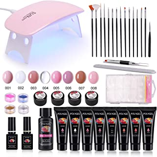 Poly Nail Gel Kit, MYSWEETY 8PCS Nail Enhancement Builder Gel Professional Nail Gel All-in-One French Kit, with 6W LED Lamp Base Top Coat for Travel