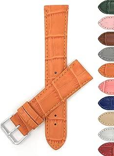 Bandini 12mm Womens Italian Leather Watch Band Strap - Orange - Alligator Pattern