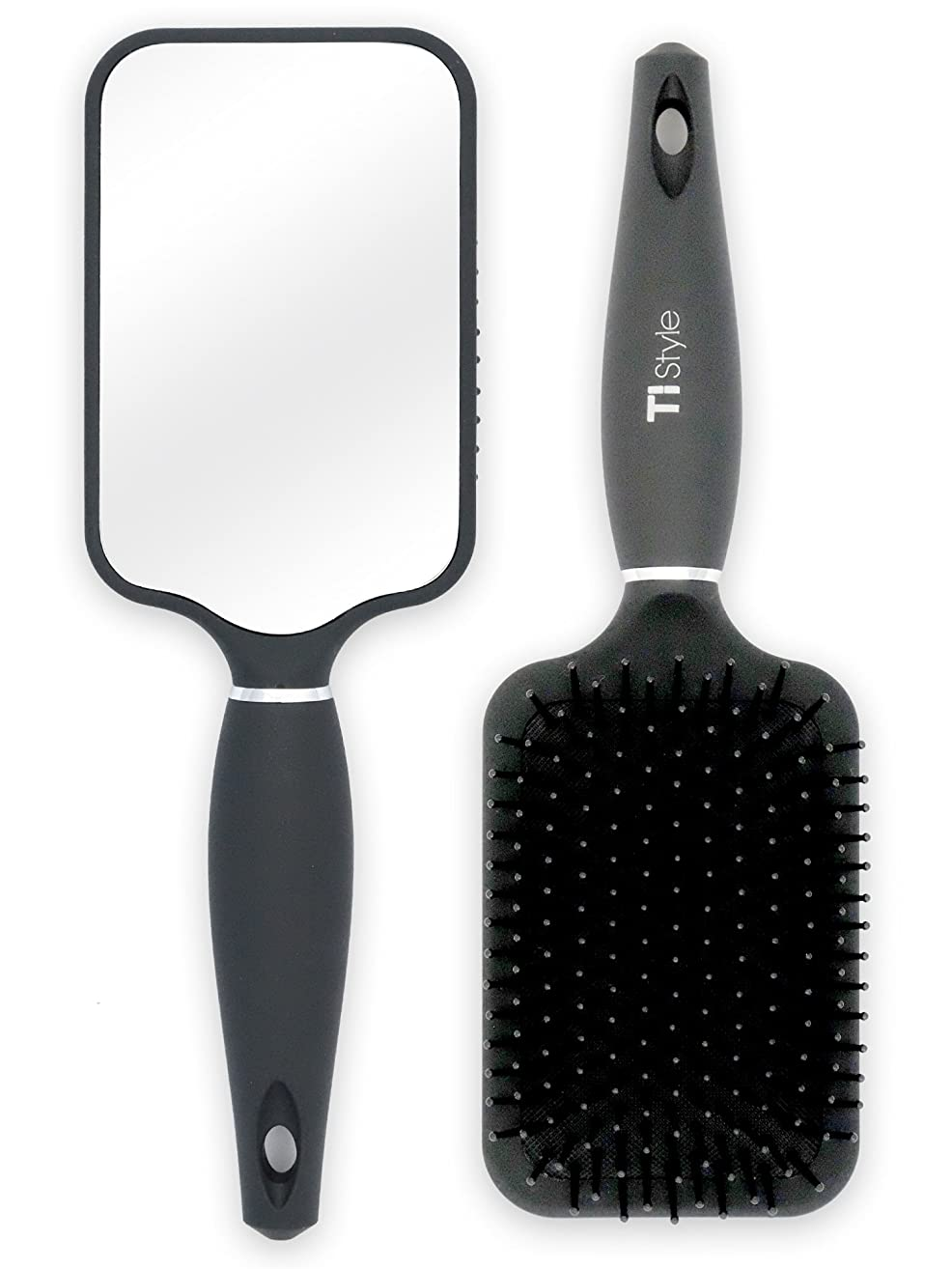 Paddle Hair Brush with Large Mirror - Ideal for Blow-Drying, Detangling, Straighten, Comb All Hair Types (Black Color)