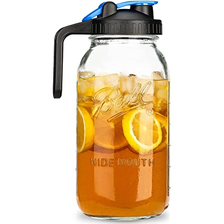Bedoo Half Gallon Mason Jar Pitcher Large Wide Mouth 64 oz Mason Jar Pitcher with Lid - 2 Quart Pitcher for Iced Tea, Sun Tea, Lemonade, Coffee, Airtight, Set of 1