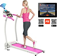 Murtisol Folding Treadmill Electric Running Exercise Machine with Safe Handlebar and LCD Display and Bluetooth for Home Fitness