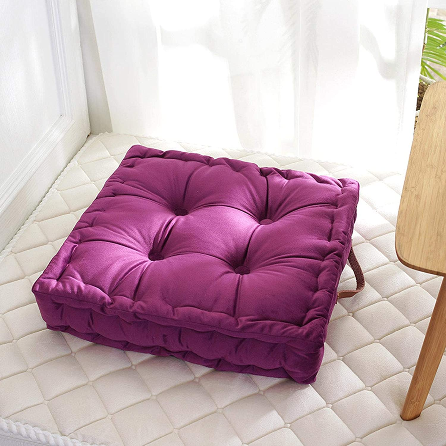 5 Color Thick Floor Pillow Tufted Tatami Seat Pad for Yoga Meditation Living Room Balcony Office Outdoor Besokuse Solid Square Seat Cushion