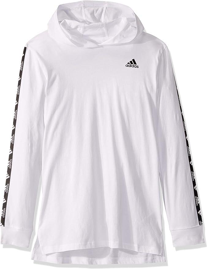 adidas Boys' Big Long Sleeve Hooded T-Shirt ... - Amazon.com