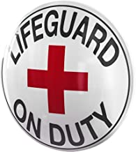 Lifeguard on Duty Dome Shaped Metal Sign Wall Decor for Bar, Garage or Man Cave (15