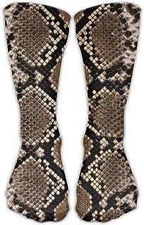 wwoman, Hombres Mujeres Classics Crew Calcetines Patrón de piel de serpiente Calcetines atléticos personalizados 30cm Long-All Season
