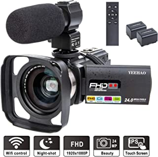 Camcorder Video Camera YEEHAO WiFi HD 1080P 24MP 16X Powerful Digital Zoom Camera with..