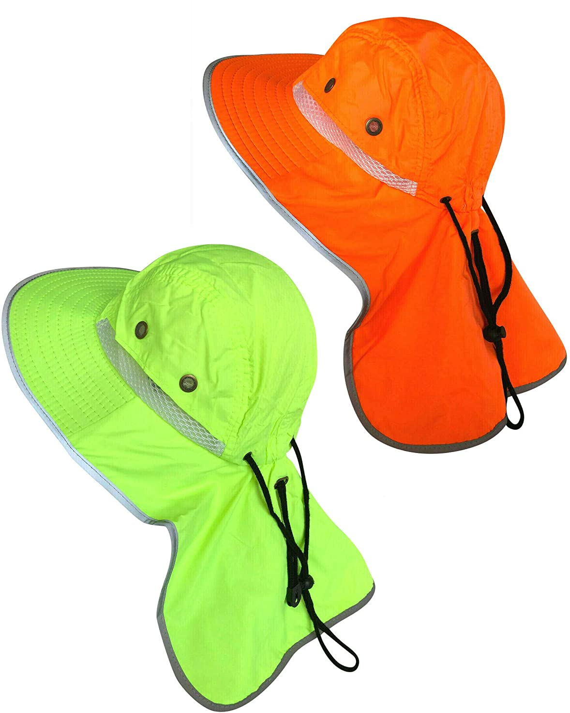 Men High Visibility Sun Hat with Neck Flap Wide Brim Boonie Hat Bucket Cap Packable Adjustable