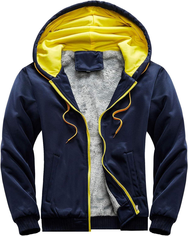Zainafacai Mens Winter Warm Hoodies Coats Full Zip Up Thick Fleece Lined Sweatshirt Jacket Thick Wool Outwear Coat