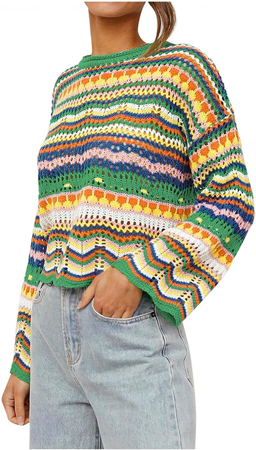Misaky Women Sweater Rainbow Colorful Striped Sweaters Crochet Knit Long Sleeve Crop Top Loose Pullover Tops