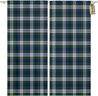 Golee Window Curtain Blue Patterned of The Black Watch Dress Tartan Green Home Decor Rod Pocket Drapes 2 Panels Curtain 104 x 96 inches