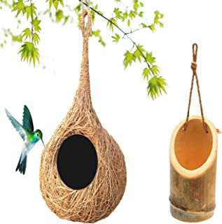 LIVEONCE Bird nest with Bamboo Bird Feeder Pack of 2 Color-Natural