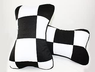 Pair Black White Checkered Flag Seat Headrest Cushion Pollow Fits for 2002-2018 Mini Cooper