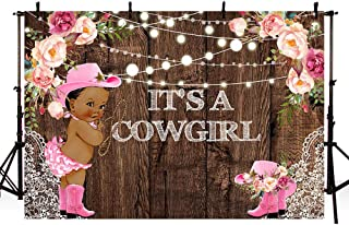 MEHOFOTO It's a Cowgirl Baby Shower Backdrops for Photography Rustic Wood Lace Pink Floral Girl Baby Shower String Lights Pink Boots Hat Rodeo Party Decoration Photo Studio Background Banner 7x5ft