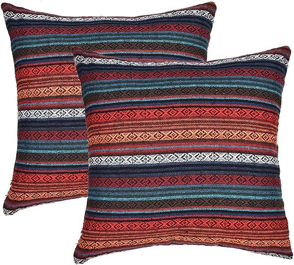 Merrycolor 装饰抱枕套沙发沙发床套 2 件套波西米亚复古条纹棉麻抱枕套混纺亚麻靠垫套 18x18 寸红色唯一抱枕套 6 个装