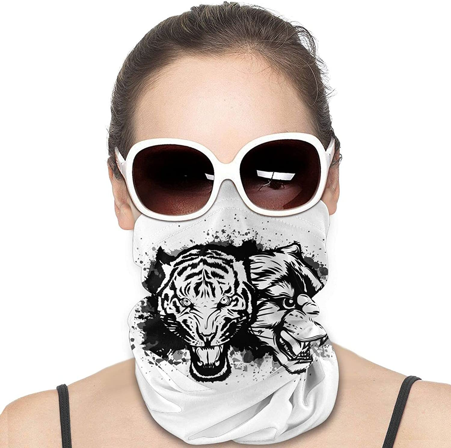 Traditional TattooBlack Panther and Tiger Round Neck Gaiter Bandnas Face Cover Uv Protection Prevent bask in Ice Scarf Headbands Perfect for Motorcycle Cycling Running Festival Raves Outdoors