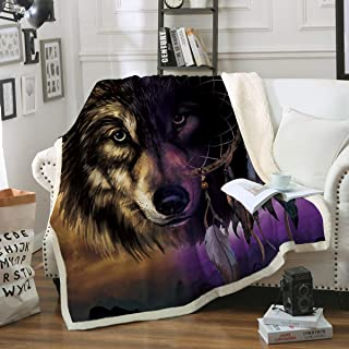 Sleepwish Wolf Dreamcatcher Fleece Throw Blanket Super Plush Blanket Brown Purple Wolf Blanket for Bed Couch Travelling (50