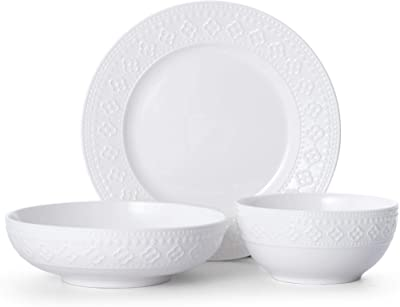 Pfaltzgraff Haisley 12-Piece Dinnerware Set, white