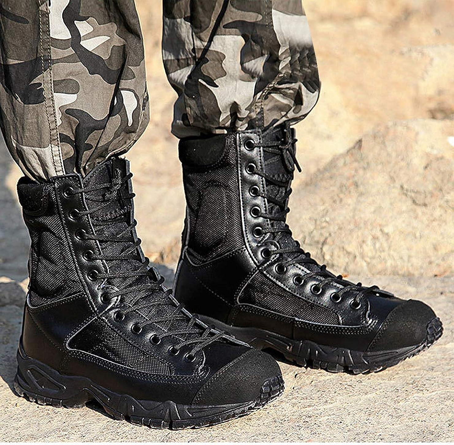 周波数カートリッジ大男性の防水透湿性半長靴、屋外軍用ブーツハイは、靴屋外の靴を狩り作業陸軍訓練戦闘トレッキングシューズ狩猟幹