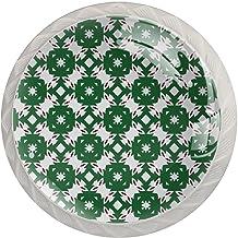 FURINKAZAN Kabinet Knop Trek Handvat Creatieve Groene Boho Geometrische Patroon 4-Pack Keuken Kastdeur