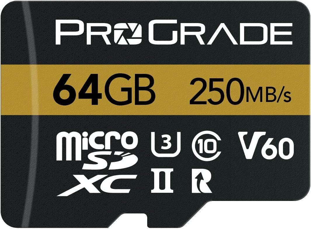 ProGrade Digital microSD Card V60 (64GB) - Tested Like a Full-Size SD Card for use in DSLRs, mirrorless and Aerial or Action Cameras   Up to 250MB/Read Speed and 130MB/s Write Speed