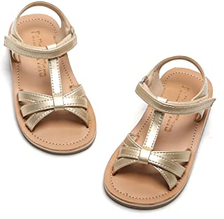 Toddler Girl Gold Sandals - Little Kids Easter Dress Shoes Size 8 for Summer Flower Girl Party Wedding School Flats