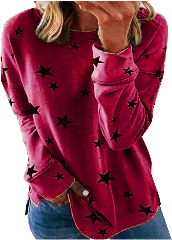 Sweatshirts for Women Vintage,Womens Plus Size Long Sleeve Sweatshirt Round Neck Star Print Side Split Pullover Shirt