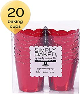 Simply Baked Petite Paper Baking Cups Metallic Red 20-Pack Disposable and Oven-safe