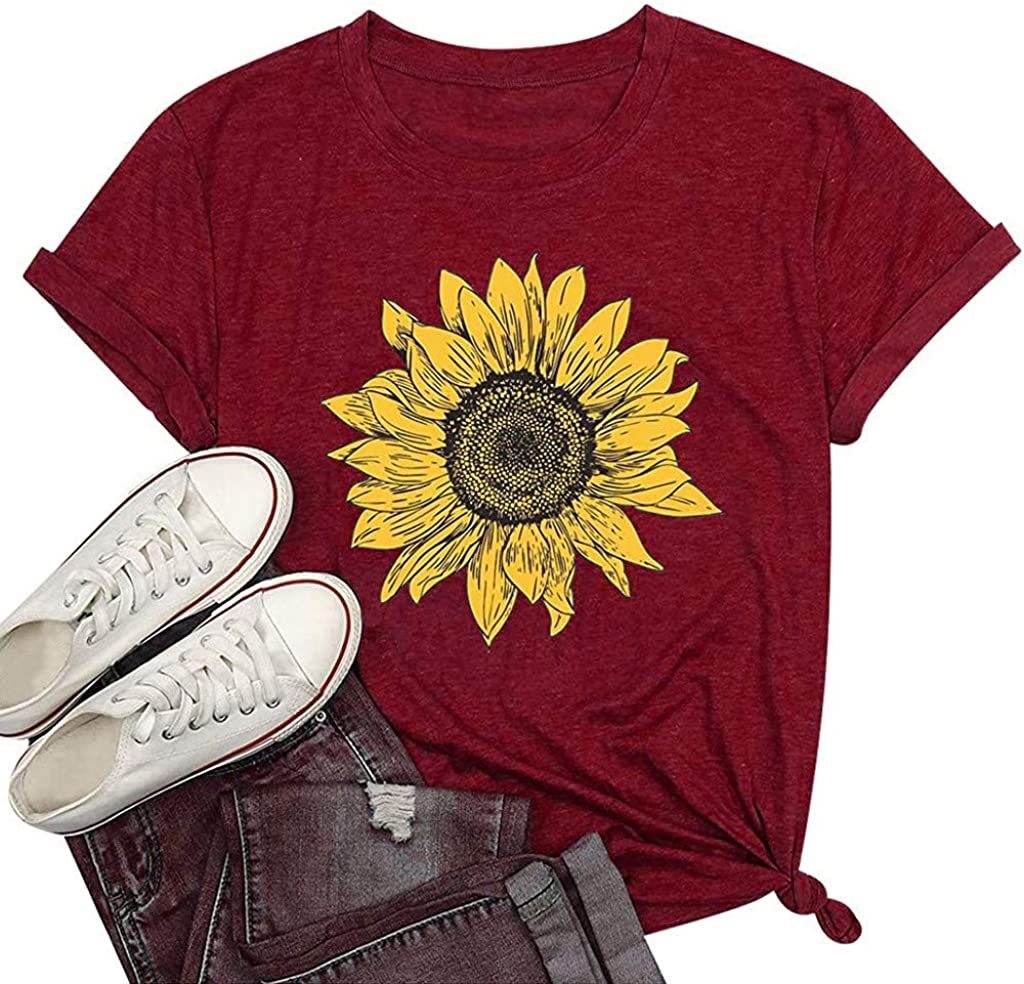 Sunflower Shirts for Women Floral Tshirt Flower Printed Tee Shirt Funny Summer Short Sleeve Casual Blouse Top