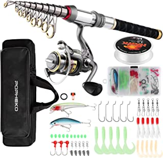 SupsShop Fishing Rod Reel Combo Full Kit Telescopic Fishing Pole Set Spinning Reel Line Lures Hooks and Fishing Carrier Ba...