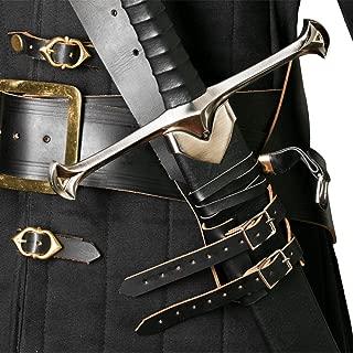 Medieval Gears Brand Black Genuine Leather Sword Belt Frog Hanger Baldric Renaissance Costume LARP