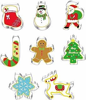 Emporte Pièce de Noël 8 pièces, emporte-pièces de Noël en acier inoxydable - Motifs : père Noël, bonhomme en pain d'épice,...