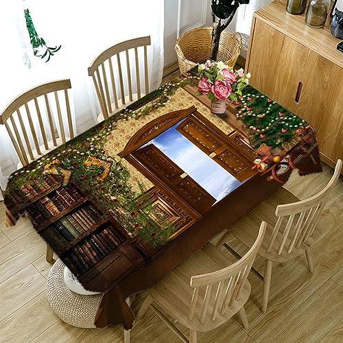 Qiao jin Tischdecke Serie 3D Rechteckige Tischdecke - Umweltfreundlich und geruchlos - Digitaldruck Wasserdicht DK6 (Größe   Rectangular -178cmx274cm)