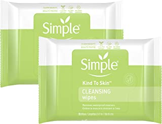 Simple Kind to Skin Facial Cleansing Wipes Cleanser & Makeup Remover for All Skin Types Cleansing Removes Waterproof Masca...
