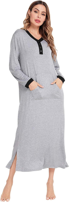 SWOMOG Women Robe Long Sleeves Loungewear Full Length Nightgown Pockets Housecoat Long Soft Bathrobe