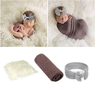 JASEN 3Pcs Infant Newborn Photography Props, DIY Faux Fur Nursery Swaddling Blankets & Toddler Wraps with Headband Set (Light Purple- Wisteria)